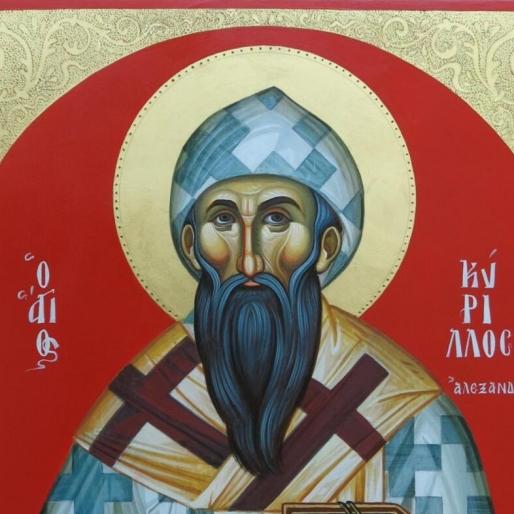 Άγιος Κύριλλος Αλεξανδρείας (σκόνες αγιογ.σε φλαμούρι ,χρυσό 24κ ΄κ τσουκάνικο ) χειρ. Αλιμπέρτη Αλέξανδρου