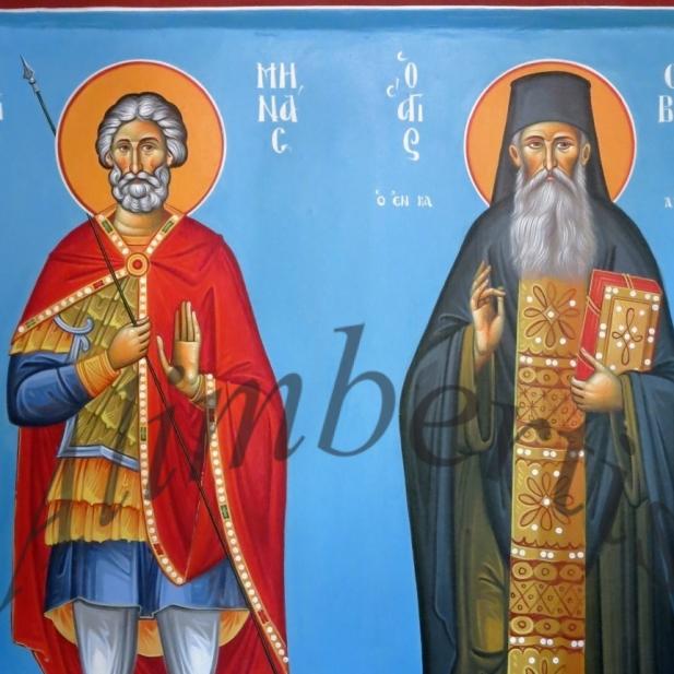 Άγιοι Μηνάς, Σάββας ο εν Καλύμνου ( Διαστ.1.50 Χ 80, σκόνες αγιογ. σε πανί ).