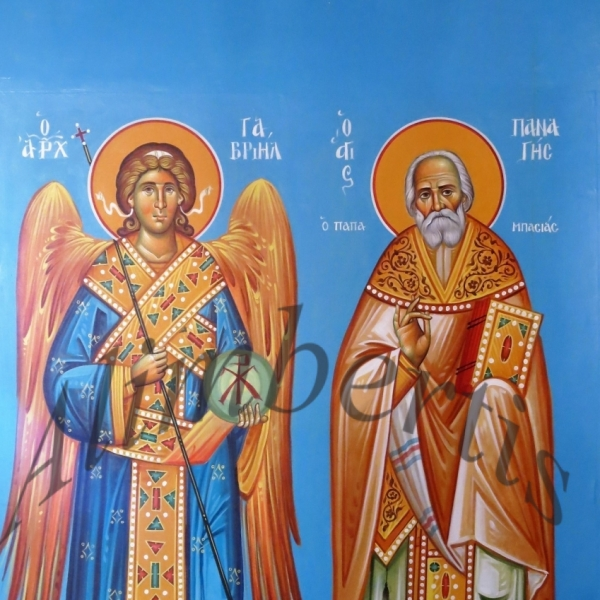 Άρχ. Γαβριήλ.Άγιος Παναγής ο Παπαμπασιάς. ( Διαστ.1.50 Χ 1, σκόνες αγιογ. σε πανί ).