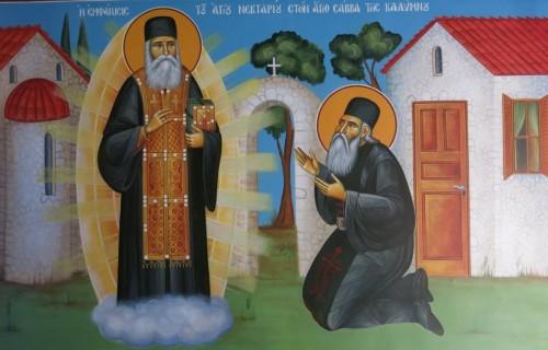 Η εμφάνισις του Αγίου Νεκταρίου στον Άγιο Σάββα της καλύμνου. ( Διαστ.1.90 Χ 1.50, σκόνες αγιογ. σε πανί ).