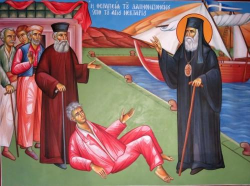 Η θεραπεία του δαιμονιζομένου υπό του Αγίου Νεκταρίου. ( Διαστ. 1.90 Χ 1.50, σκόνες αγιογ. σε πανί ).