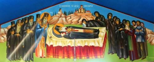 Η κοίμησις του Αγίου Νεκταρίου. ( Διαστ. 4.30 Χ 1.60, σκόνες αγιογ. σε πανί ).