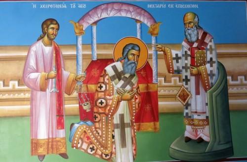 Η χειροτονία του Αγίου Νεκταρίου εις επίσκοπον. ( Διαστ. 1.90 Χ 1.50, σκόνες αγιογ. σε πανί ).