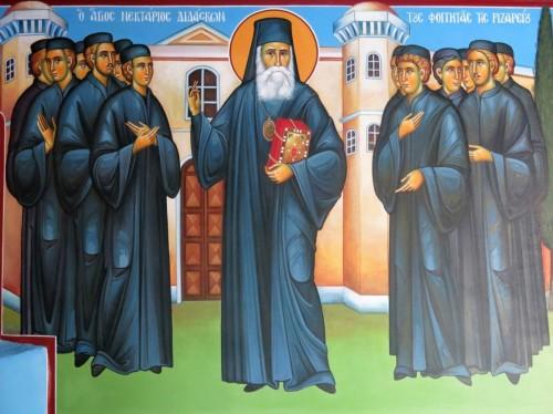 Ο Άγιος Νεκτάριος διδάσκων τους φοιτητάς της Ριζαρείου. ( Διαστ. 1.90 Χ 1.50, σκόνες αγιογ. σε πανί ).