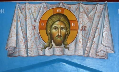 Το Άγιο Μανδύλιο. ( Διαστ.1 Χ 50, σκόνες αγιογ. σε πανί ).