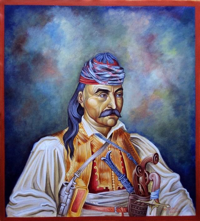 Στρατηγός Θεόδωρος Κολοκοτρώνης  ( Διαστ.70 Χ 40.σκόνες αγιογ. en paño, χείρ.Αλιμπέρτη  Αλέξανδρου ).
