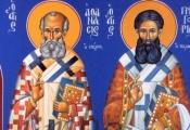 5)Άγιοι Αθανάσιος ο Μέγας, Γρηγόριος ο Παλαμάς ( Διαστ.1.40 Χ 2, σκόνες αγιογρ.σε πανί ).