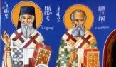 4)Άγιοι Μάρκος ο Ευγενικός, Γρηγόριος ο Θεολόγος ( Διαστ.1.40 Χ 2, σκόνες αγιογρ.σε πανί ).