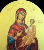 12)Παναγία ( Εικόνα τέμπλου, διαστ. 1 Χ 50 , χρυσό φόντο 24 κ, σκόνες αγιογρ με κόλλα ).