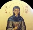 14)Αγία Ελισάβετ ( Εικόνα τέμπλου,διαστ. 1 Χ 50 , χρυσό φόντο 24 κ, σκόνες αγιογρ. με κόλλα ).