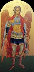 9)Αρχ. Μιχαήλ ( Εικόνα  τέμπλου,διαστ. 1 Χ 50 , χρυσό φόντο 24 κ, σκόνες αγιογρ με κόλλα ).