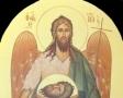13)Άγιος Ιω ο Πρόδρομος ( Εικόνα τέμπλου, διαστ. 1 Χ 50 , χρυσό φόντο 24 κ, σκόνες αγιογρ με κόλλα ).