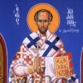 6)Άγιος ΙΩ. Ο Χρυσόστομος ( Διαστ.70 Χ 2 ,σκόνες αγιογρ.σε πανί ).